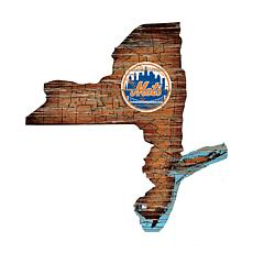 New York Mets 24in. Distressed State w/Logo Sign