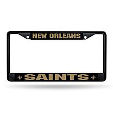 NFL Black Laser-Cut Chrome License Plate Frame -  Saints