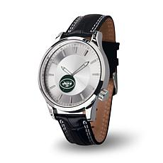 NFL Icon Series Leather Strap Watch - New York Jets