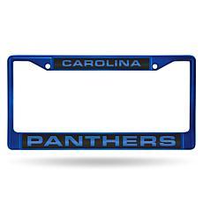 NFL Laser-Cut Chrome License Plate Frame -  Panthers