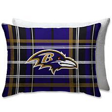 "NFL Plush Plaid Sherpa 20"" x 26"" Bed Pillow - Baltimore Ravens"