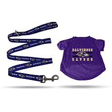 NFL Small Pet T-Shirt with 4' Leash - Ravens