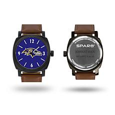 """NFL Sparo """"Knight"""" Faux Leather Strap Personalized Watch - Ravens"""