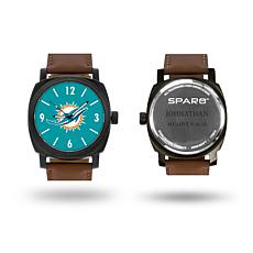 "NFL Sparo ""Knight"" Faux Leather Strap Personalized Watch - Dolphins"