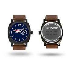 """NFL Sparo """"Knight"""" Faux Leather Strap Personalized Watch - Patriots"""