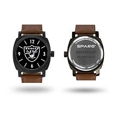 "NFL Sparo ""Knight"" Faux Leather Strap Personalized Watch - Raiders"