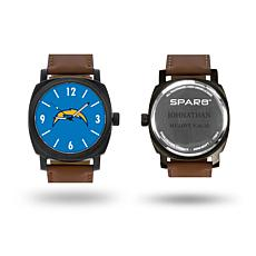 """NFL Sparo """"Knight"""" Faux Leather Strap Personalized Watch - Chargers"""