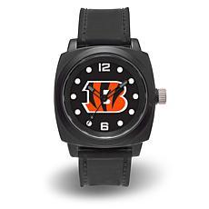 """NFL Sparo Team Logo """"Prompt"""" Black Strap Sports Watch - Bengals"""