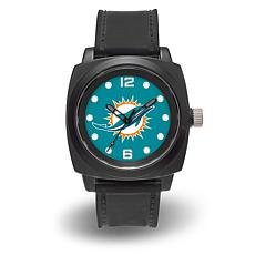 "NFL Sparo Team Logo ""Prompt"" Black Strap Sports Watch - Dolphins"