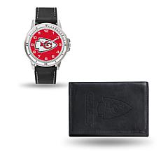 NFL Team Logo Watch and Wallet Combo Gift Set in Black