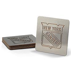 NHL Boasters 4-piece Coaster Set - New York Rangers