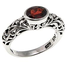 Nicky Butler 0.80ct East/West Oval Garnet Sterling Silver Band Ring