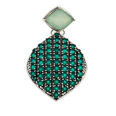 Nicky Butler 12.7ctw Green Chalcedony Pavé Drop Pendant