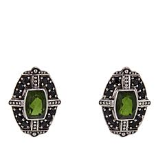 Nicky Butler 14ctw Olivine Quartz Triplet and Black Spinel Earrings