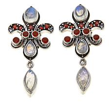 Nicky Butler 2.74ctw Garnet and Multigemstone Fleur-de-Lis Earrings