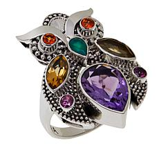 Nicky Butler 3.5ctw Amethyst and Multigemstone Owl Ring