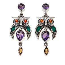 Nicky Butler 4.1ctw Amethyst and Multigemstone Owl Earrings
