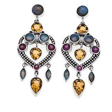 Nicky Butler 5ctw Multigem Heart Dangle Earrings