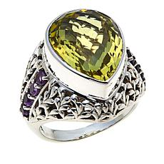 Nicky Butler 7.40ctw Lemon Quartz and Amethyst Bold Pear Ring