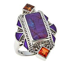 Nicky Butler .84ctw Purple Turquoise and Honey Topaz Enamel Ring