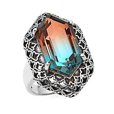 Nicky Butler 9.50ctw Rose/Aqua-Color Quartz Triplet Geometric Ring