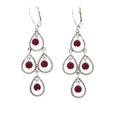Nicky Butler Berry Quartzite Bead Sterling Silver Chandelier Earrings