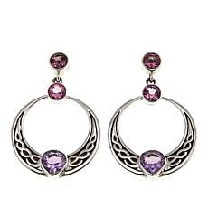 Nicky Butler Celtic Collection Pink Topaz and Amethyst Dangle Earrings