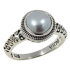 Nicky Butler Cultured Freshwater Pearl Round Solitaire Textured Ring