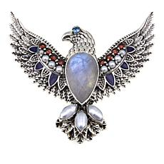 Nicky Butler Garnet and Multigem Sterling Silver Eagle Pin/Pendant