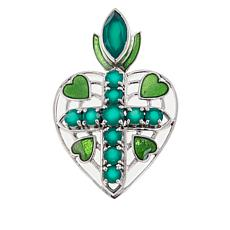 Nicky Butler Green Chalcedony Heart Cross Sterling Silver Pendant