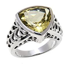 Nicky Butler Lemon Quartz Triangular Solitaire Ring