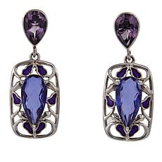 Nicky Butler Purple Quartz Triplet and Enamel Earrings