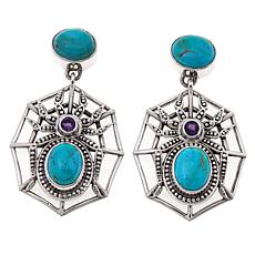 Nicky Butler Turquoise and Amethyst Spider Earrings