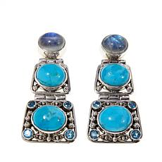 Nicky Butler Turquoise and Multigem Earrings