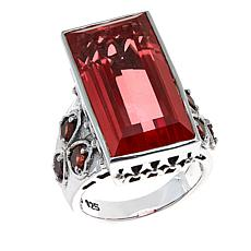 Nicky Butler Watermelon Quartz Triplet and Garnet Ring