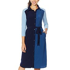 Nina Leonard 3/4-Sleeve Button-Down Shirt Dress