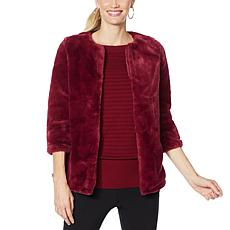 Nina Leonard 3/4-Sleeve Faux Fur Jacket