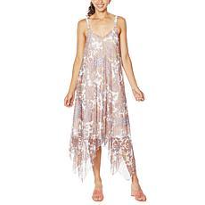 Nina Leonard Adjustable Strap Asymmetric Powermesh Dress