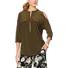 Nina Leonard Cold-Shoulder Tunic