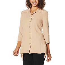 Nina Leonard Collared Tab-Sleeve Tunic