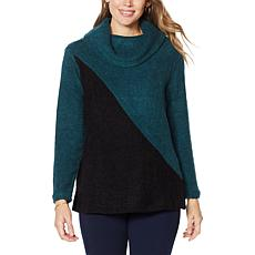 Nina Leonard Cowl-Neck Colorbock Sweater Tunic