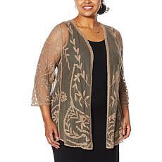 Nina Leonard Embroidered Mesh Topper