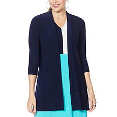 Nina Leonard Hi-Low Cardigan with Back Zipper and Chiffon Detail
