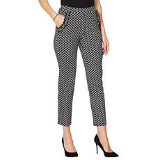 Nina Leonard High Tech Crepe Pant with Ruffle Pockets