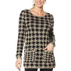 Nina Leonard Houndstooth Sweater Tunic with Pockets