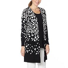 Nina Leonard Jacquard Open-Front Cardigan with Pockets