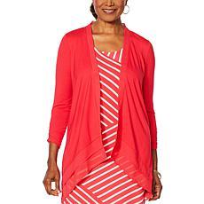 Nina Leonard Jersey Knit Chiffon Layered Hem Cardigan