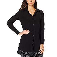 Nina Leonard Miracle Matte Jersey Button-Up Shirt