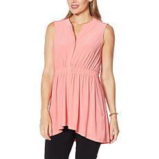 Nina Leonard Miracle Matte Jersey Buttoned Sleeveless Tunic