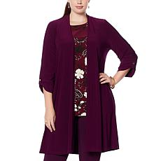 Nina Leonard Miracle Matte Jersey Cardigan with Buttons